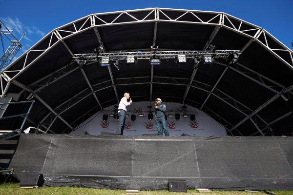 Silverstone, Northamptonshire, England. Sunday 6 July 2014. Lewis Hamilton, Mercedes AMG, on stage. World Copyright: Steve Etherington/LAT Photographic. ref: Digital Image SNE19983