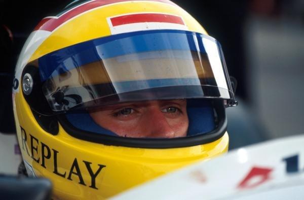Race winner Luca Badoer (ITA) Team Crypton Reynard 92D Cosworth. International Formula 3000 Championship, Hockenheim, Germany, 25 July 1992.