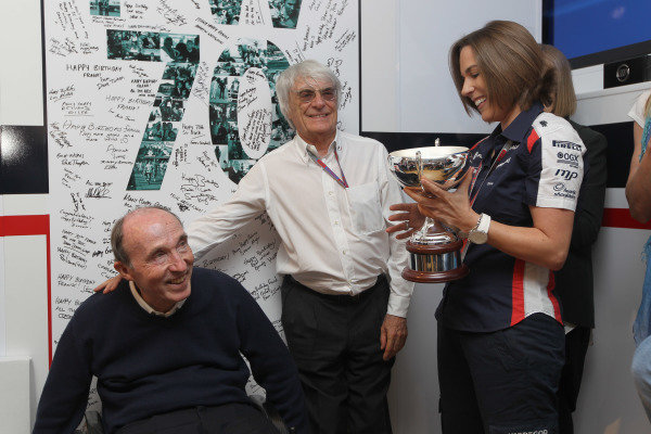 Circuit de Catalunya, Barcelona, Spain12th May 2012Sir Frank Williams, Team Principal, Williams F1 with Bernie Ecclestone, CEO, FOM and Claire Williams, Director of Communications and Marketing during an event to celebrate his 70th Brirthday.World Copyright:Glenn Dunbar/LAT Photographicref: Digital Image CG8C3995