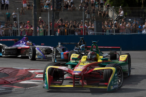 2016/2017 FIA Formula E Championship. Buenos Aires ePrix, Buenos Aires, Argentina. Saturday 18 February 2017 Daniel Abt (66, ABT Schaeffler Audi Sport) leads Maro Engel (5, Venturi Formula E) and Jose Maria Lopez (37, DS Virgin Racing). Photo: Alastair Staley/LAT/Formula E ref: Digital Image 580A7277