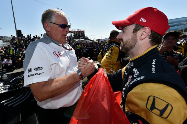 2017 Verizon IndyCar Series Toyota Grand Prix of Long Beach Streets of Long Beach, CA USA Sunday 9 April 2017 James Hinchcliffe and Art St Cyr celebrates the win in victory lane World Copyright: Scott R LePage/LAT Images ref: Digital Image lepage-170409-LB-7673