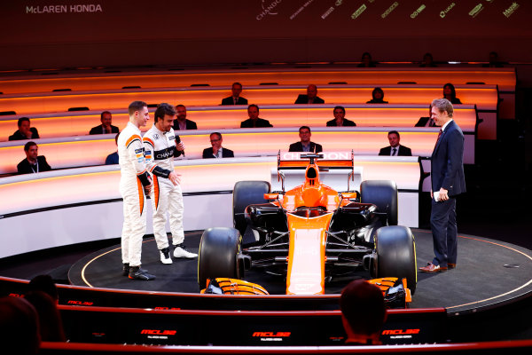 McLaren MCL32 Honda Formula 1 Launch. McLaren Technology Centre, Woking, UK. Friday 24 February 2017. Fernando Alonso, McLaren, Stoffel Vandoorne, McLaren, and presenter Simon Lazenby discuss the MCL32 on stage. World Copyright: Steven Tee/LAT Images Ref: _O3I4971