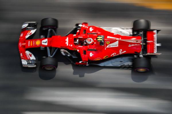 Monte Carlo, Monaco. Thursday 25 May 2017. Kimi Raikkonen, Ferrari SF70H. World Copyright: Glenn Dunbar/LAT Images ref: Digital Image _X4I2607