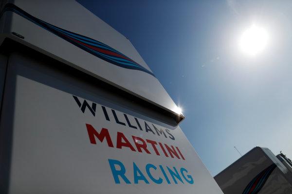 Circuit de Barcelona Catalunya, Barcelona, Spain. Friday 10 March 2017. The Williams Martini Racing logo and Martini stripes on the team's motorhome. World Copyright: Glenn Dunbar/LAT Images ref: Digital Image _X4I6905