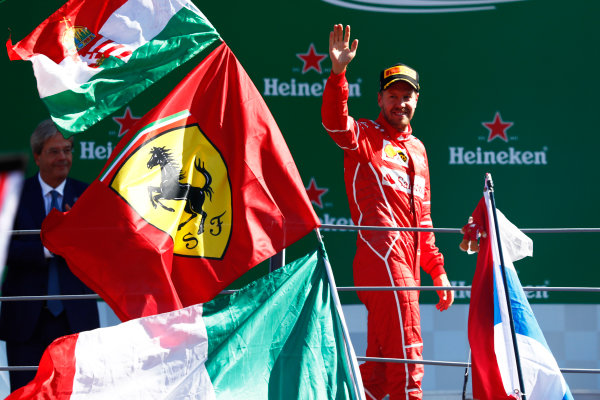 Autodromo Nazionale di Monza, Italy. Sunday 03 September 2017. Sebastian Vettel, Ferrari, celebrates on the podium. World Copyright: Sam Bloxham/LAT Images  ref: Digital Image _W6I5761