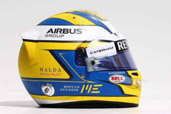 Albert Park, Melbourne, Australia. Thursday 13 March 2014. The helmet of Marcus Ericsson (SWE) Caterham. World Copyright: xpb Images/LAT Photographic. ref: Digital Image 2014helmets15