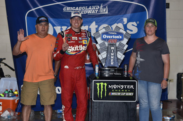 #18: Kyle Busch, Joe Gibbs Racing, Toyota Camry Skittles Red White & Blue celebrates his win