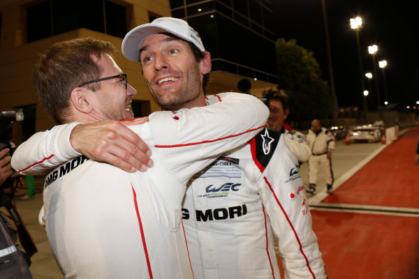 2015 FIA World Endurance Championship Bahrain 6-Hours Bahrain International Circuit, Bahrain Saturday 21 November 2015. Mark Webber (#17 LMP1 Porsche AG Porsche 919 Hybrid celebrates after winning the drivers championship. World Copyright: Alastair Staley/LAT Photographic ref: Digital Image _79P1351