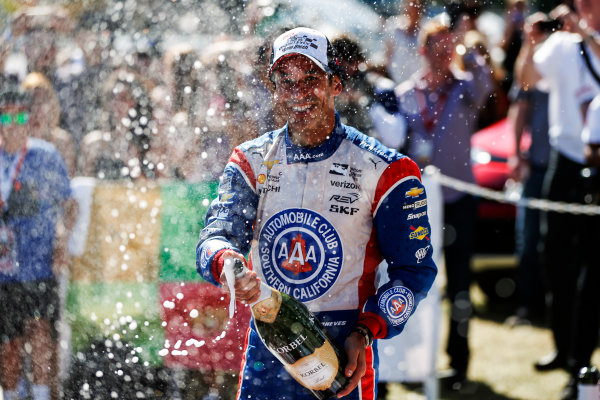 15-17 April, 2016, Long Beach, California USA 3 Helio Castroneves celerates with champagne   ?2016, Sam Cobb LAT Photo USA