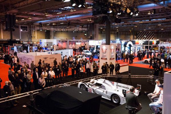 Autosport International Exhibition. National Exhibition Centre, Birmingham, UK. Thursday 8 January 2015. Malcolm Wilson, Elfyn Evans and Sander Pam on the Autosport stage. World Copyright: Zak Mauger/LAT Photographic. ref: Digital Image _P7T0048