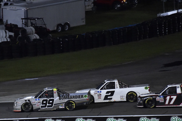 #88: Matt Crafton, ThorSport Racing, Toyota Tundra Menards, #2: Sheldon Creed, GMS Racing, Chevrolet Silverado, and #17: Riley Herbst, Team DGR, Ford F-150