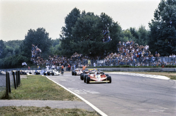 Gilles Villeneuve, Ferrari 312T3 leads Niki Lauda, Brabham BT46 Alfa Romeo at the start.