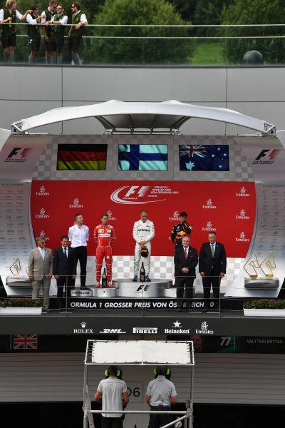Podium ceremony at Formula One World Championship, Rd9, Austrian Grand Prix, Race, Spielberg, Austria, Sunday 9 July 2017.