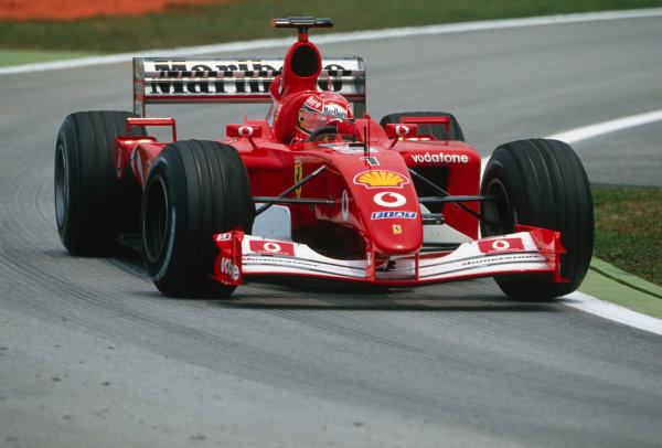 2002 Malaysian Grand Prix.Sepang, Kuala Lumpar, Malaysia. 15-17 March 2002.Michael Schumacher (Ferrari F2001).Ref-02 MAL 77.World Copyright - Lorenzo Bellanca/LAT Photographic