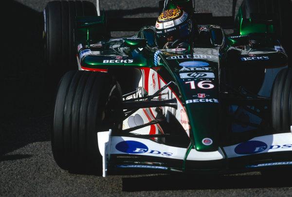 2002 Belgian Grand Prix.Spa-Francorchamps, Belgium. 30/8-1/9 2002.Eddie Irvine (Jaguar R3) 6th position.Ref-02 BEL 17.World Copyright - Bellanca/LAT Photographic