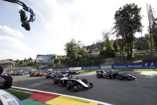 SPA-FRANCORCHAMPS, BELGIUM - AUGUST 31: Nyck De Vries (NLD, ART GRAND PRIX), leads Sergio Sette Camara (BRA, DAMS) and the rest of the pack at the start during the Spa-Francorchamps at Spa-Francorchamps on August 31, 2019 in Spa-Francorchamps, Belgium. (Photo by Joe Portlock / LAT Images / FIA F2 Championship)