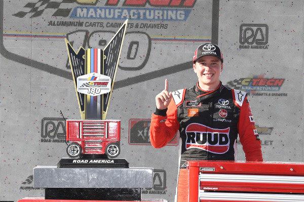 #20: Christopher Bell, Joe Gibbs Racing, Toyota Supra Ruud, celebrates in Victory Lane.