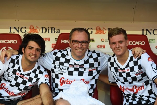 Carlos Sainz jr (ESP) Scuderia Toro Rosso, Stefano Domenicali (ITA) and Mick Schumacher (GER) at the Nazionale Piloti Football Match at Formula One World Championship, Rd12, German Grand Prix, Preparations, Hockenheim, Germany, Wednesday 27 July 2016.