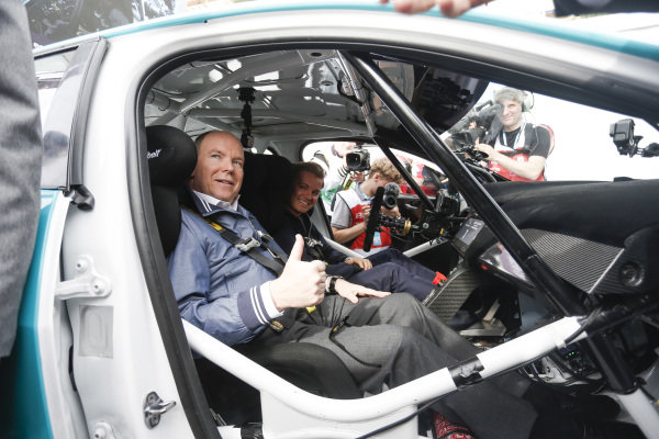 Nico Rosberg, Formula E investor, with Albert II, Prince of Monaco in the Jaguar I-Pace eTrophy car