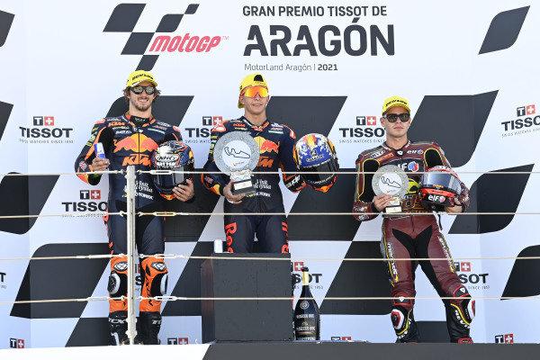 Raul Fernandez, Red Bull KTM Ajo, Remy Gardner, Red Bull KTM Ajo, Augusto Fernandez, Marc VDS Racing Team podium.