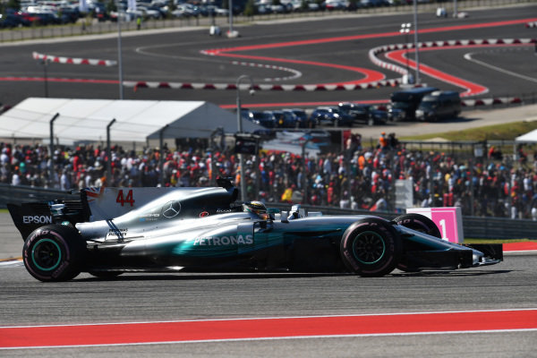 Lewis Hamilton (GBR) Mercedes-Benz F1 W08 Hybrid at Formula One World Championship, Rd17, United States Grand Prix, Race, Circuit of the Americas, Austin, Texas, USA, Sunday 22 October 2017.