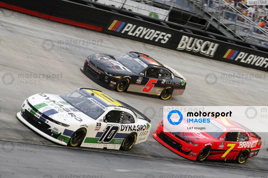 #10: Ross Chastain, Kaulig Racing, Chevrolet Camaro Dyna-Gro Seed and #7: Justin Allgaier, JR Motorsports, Chevrolet Camaro BRANDT