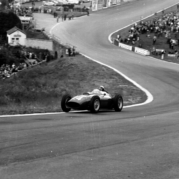 1960 Belgian Grand Prix. Spa-Francorchamps, Belgium. 17-19 June 1960. Phil Hill (Ferrari Dino 246). Ref-6636. World Copyright - LAT Photographic