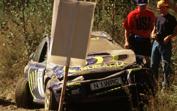 1996 World Rally Championship.1000 Lakes Rally, FinlandColin McRae/Derek Ringer (Subaru Impreza 555)Aftermath of a large crash in Finland.World - LAT Photographic.