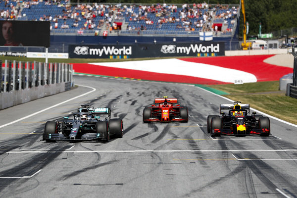 Lewis Hamilton, Mercedes AMG F1 W10, Pole Sitter Charles Leclerc, Ferrari SF90 and Max Verstappen, Red Bull Racing RB15 driving into Parc Ferme
