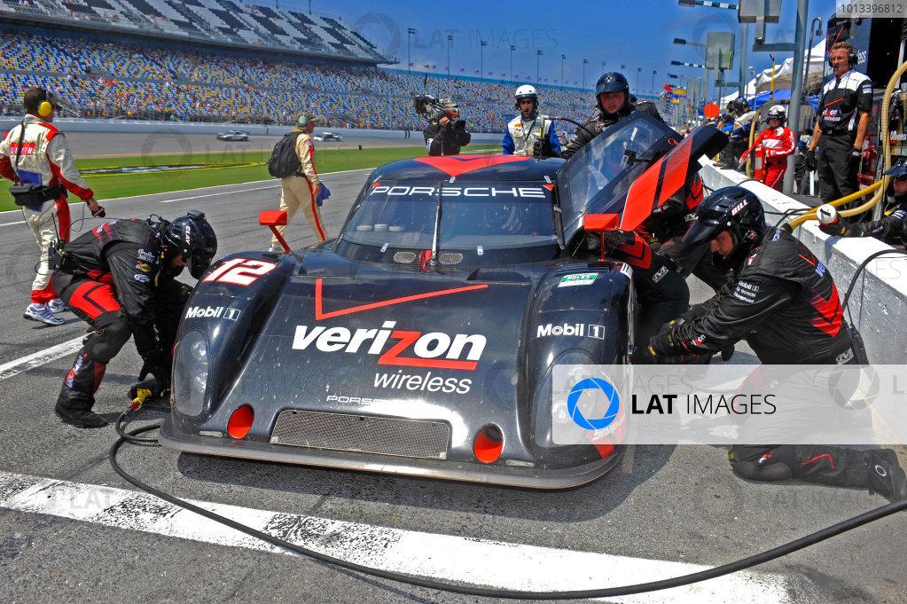 4 July, 2009, Daytona Beach, Florida USA#12 Penske Racing Porsche/Riley of Timo Bernhard & Romain Dumas makes a pit stop.©2009 F Peirce Williams, USALAT Photographic