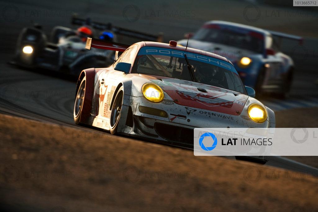 American Le Mans Series. Laguna Seca, Monterey, California. 15th - 17th September 2011. Tim Pappas / Jeroen Bleekemolen / Sebastiaan Bleekemolen, Black Swan Racing, Porsche 911 GT3 Cup. Action. Photo: Drew Gibson/LAT Photographic. ref: Digital Image _Y2Z7024