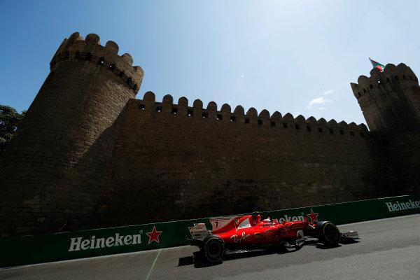 Baku City Circuit, Baku, Azerbaijan. Friday 23 June 2017. Kimi Raikkonen, Ferrari SF70H.  World Copyright: Glenn Dunbar/LAT Images ref: Digital Image _31I9437