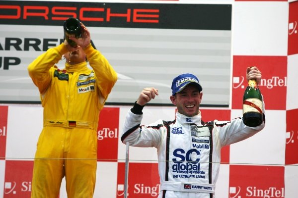 The podium (L to R): race winner Christian Menzel (GER) Team StarChase and Danny Watts (GBR) SC Global Racing. Porsche Carrera Cup Asia, Marina Bay Street Circuit, Singapore, 25-27 September 2009.