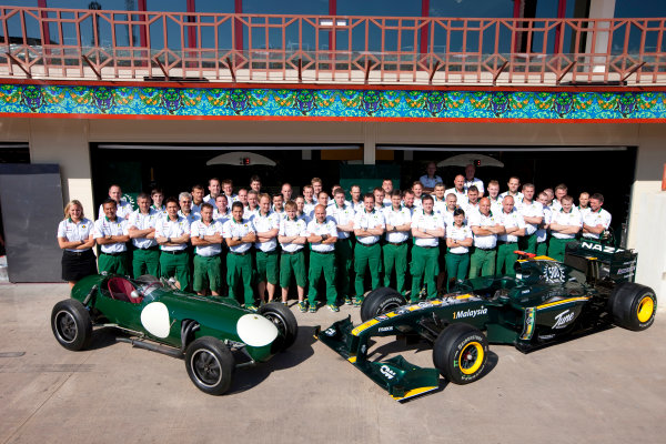 Valencia Street Circuit, Valencia, Spain24th June 2010.The Lotus team commemorate the 500th race for the marque with the first and the most recent Lotus charges. Portrait. Atmosphere. World Copyright: Steve Etherington/LAT Photographicref: Digital Image SNE25544