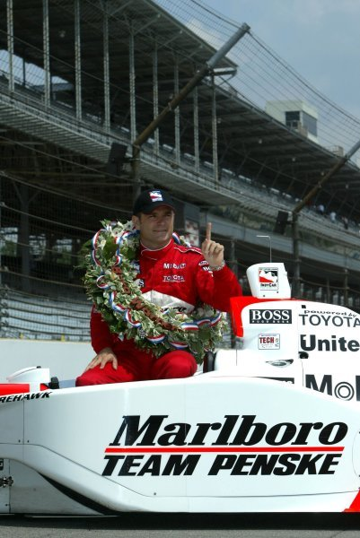 Gil de Ferran (BRA) Penske Racing G-Force Toyota celebrates his first Indy 500 victory.Indy Racing League, Indianapolis 500, Indianapolis, USA, 26 May 2003.DIGITAL IMAGE