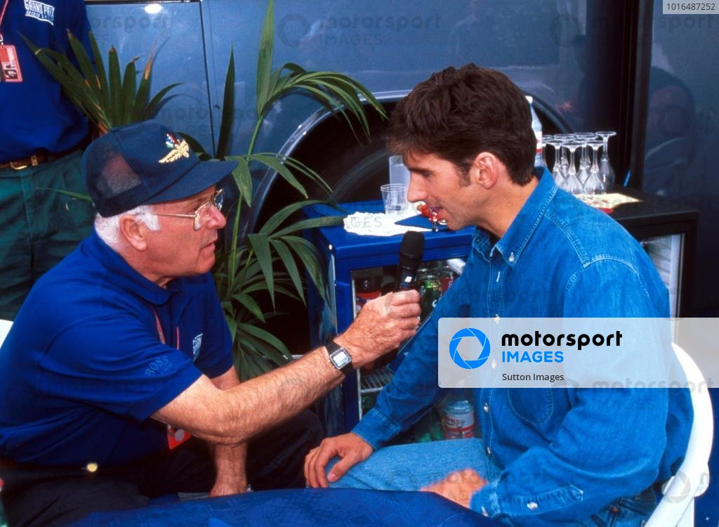 BBC TV commentator Murray Walker (GBR) (left) interviews Damon Hill (GBR) Williams.