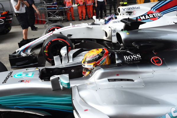 Pole sitter Lewis Hamilton (GBR) Mercedes-Benz F1 W08 Hybrid arrives in parc ferme at Formula One World Championship, Rd2, Chinese Grand Prix, Qualifying, Shanghai, China, Saturday 8 April 2017.
