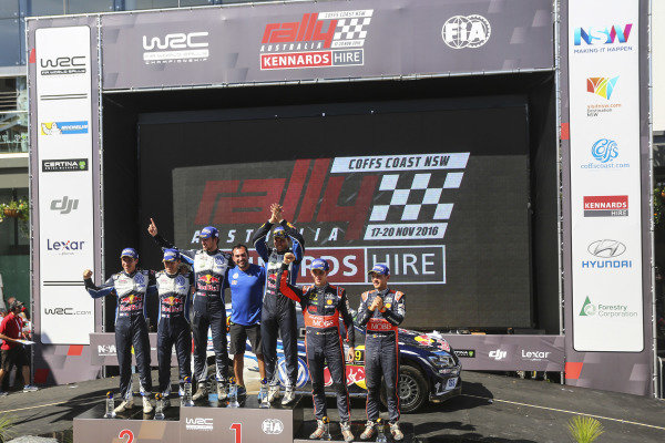 (L to R): Second placed Sebastien Ogier (FRA) / Julien Ingrassia (FRA), Volkswagen Motorsport WRC, rally winners Andreas Mikkelsen (NOR) / Anders Jaeger Synnevag (NOR), Volkswagen Motorsport II WRC and third placed Thierry Neuville (BEL) / Nicolas Gilsoul (BEL), Hyundai Motorsport N WRC celebrate on the podium at FIA World Rally Championship, Rd13, Rally Australia, Day Three, Coffs Harbour, New South Wales, Australia, 20 November 2016.