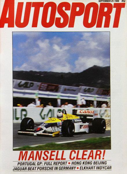 Cover of Autosport magazine, 25th September 1986