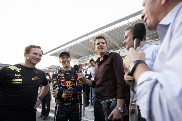Christian Horner and Sebastian Vettel are interviewed by BBC Sport's Jake Humphrey, David Coulthard and Martin Brundle after the race.