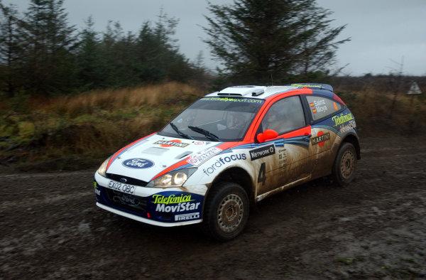 2002 World Rally Championship.Network Q Rally of Great Britain, Cardiff. November 14-17. Carlos Sainz during shakedown.Photo: Ralph Hardwick/LAT