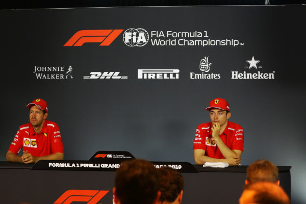 Sebastian Vettel, Ferrari, and Charles Leclerc, Ferrari, in the press conference