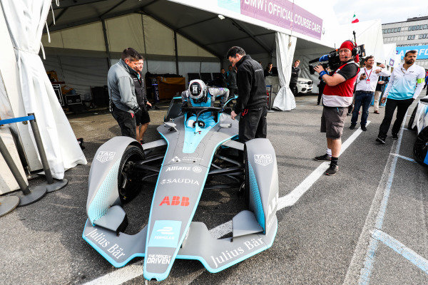 Olympic gold medalist Sir Chris Hoy, in the FIA ABB Formula E track car