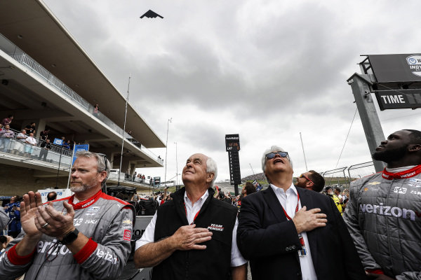 Roger Penske, Mark Miles, Clay Turner and Quinton Washington, and Will Power, Team Penske Chevrolet team during the B2 bomber flyover