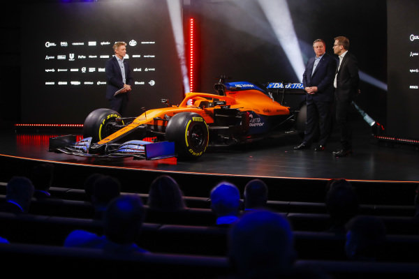 Simon Lazenby, Sky TV, Zak Brown, CEO, McLaren Racing and Andreas Seidl, Team Principal, McLaren, at the McLaren MCL35 launch
