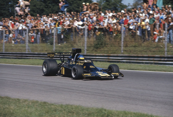 1974 Italian Grand Prix.Monza, Italy.6-8 September 1974. Ronnie Peterson (Lotus 76 Ford) in practice. Ref-74 ITA 07.World Copyright - LAT Photographic