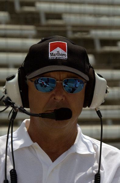 4-time Indy 500 winner Rick Mears keeps an eye on operations for Team Penske.