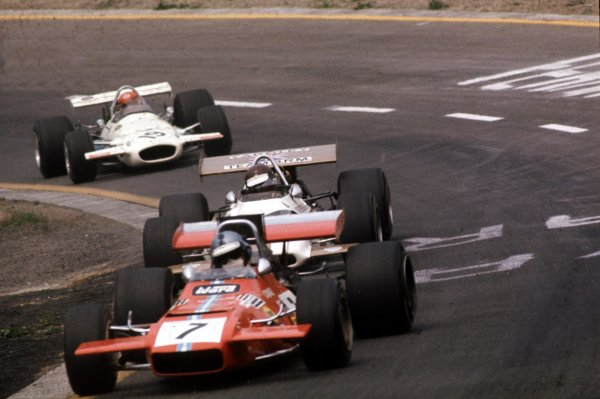 1970 Belgian Grand Prix.Spa-Francorchamps, Belgium.5-7 June 1970.Piers Courage (de Tomaso 38/505 Ford) leads Jackie Oliver (BRM P153) and Rolf Stommelen (Brabham BT33 Ford). Stommelen finished in 5th position.Ref-70 BEL 62.World Copyright - LAT Photographic