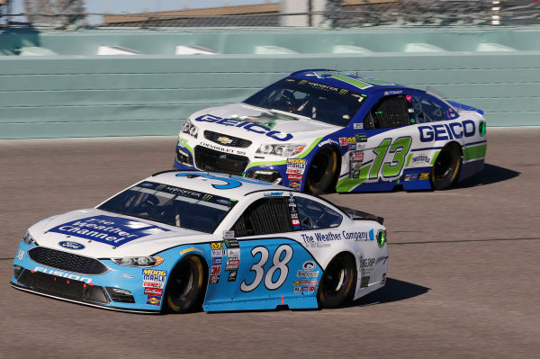 Monster Energy NASCAR Cup Series Ford EcoBoost 400 Homestead-Miami Speedway, Homestead, FL USA Sunday 19 November 2017 David Ragan, Front Row Motorsports, Weather Channel/Flagship Solutions Ford Fusion Ty Dillon, Germain Racing, GEICO Chevrolet SS World Copyright: Matthew T. Thacker LAT Images