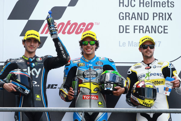 2017 Moto2 Championship - Round 5 Le Mans, France Sunday 21 May 2017 Podium: second place Francesco Bagnaia, Sky Racing Team VR46, winner Franco Morbidelli, Marc VDS, third place Thomas Luthi, CarXpert Interwetten World Copyright: Gold & Goose Photography/LAT Images ref: Digital Image 671685